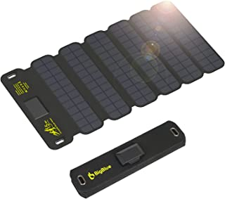 Portable Solar Charger, BigBlue 15W Solar Phone Charger with Dual 5V/2.1A USB, Folding Camping Solar Panels with Type-C Ca...