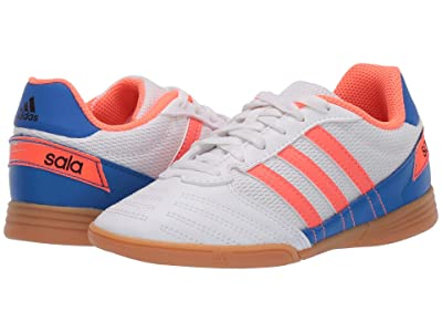 adidas Kids Super Sala Soccer (Little Kid/Big Kid) (White/Signal Coral/Glory Blue) Kids Shoes