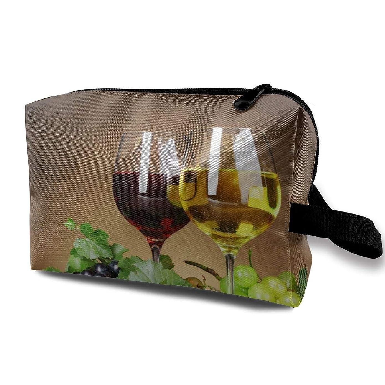 アイデアはず歩くグレープワイン 化粧バッグ 収納袋 女大容量 化粧品クラッチバッグ 収納 軽量 ウィンドジップ