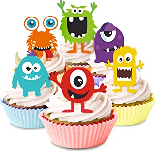 Kreatwow Monster Cupcake Toppers - Little Monster Cupcake Picks Cake Decorations for Birthday Party Baby Shower Supplies 24 Pack