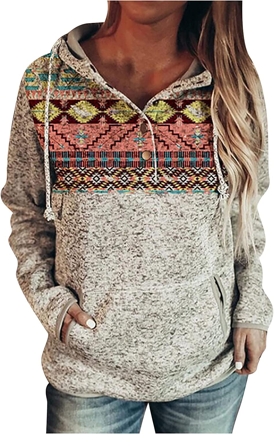 Womens Patchwork Spring new work Hoodies Pullover Free shipping / New Button L Up Sweatshirt Fashion