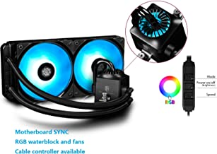 DEEPCOOL Liquid AIO CPU Cooler, Captain 240 RGB, SYNC RGB Waterblock and Fans Controlled by Cable Controller or Motherboard with 12V RGB Header, 2x120mm PWM Fans, AM4 Compatible, 3-Year Warranty