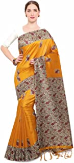 Indian Handicrafts Export Satrani Orange Printed Silk Blend Saree
