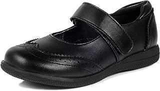 Girl's Mary Jane Flats Dress Black School Uniform Shoes with Brogue Detail