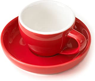 Espresso Cup and Saucer - (1 PC Set) 3-Ounce Demitasse for Coffee, Vibrant Color Choices, Durable Porcelain (Poppy Red)