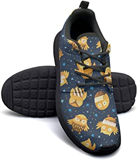 VXCVF Owl Doodle Cartoon Men Lace-up Sneaker for Mens Breathable Athletic