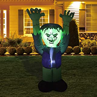 5FT Inflatable Halloween Ghost with The Green FACE Halloween Inflatable Frankenstein Monster,Blow up Lighted Yard Decor LE...