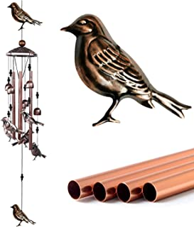 Wind Chimes 4 Hollow Aluminum Tubes -5 Wind Bells 7 Birds-Wind Chime with S Hook for Indoor and Outdoor Porch Decor
