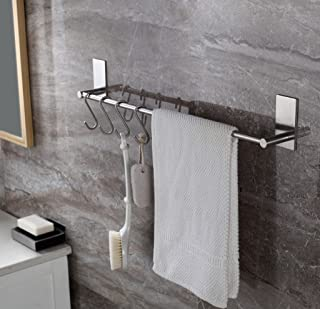 Togu 15.7 inch Self Adhesive Single Towel Bar with 5 S Hooks, Heavy Duty Stainless Steel Towel Rack Stick on Bathroom Lavatory Hanging Towel, Brushed Stainless Steel Finish
