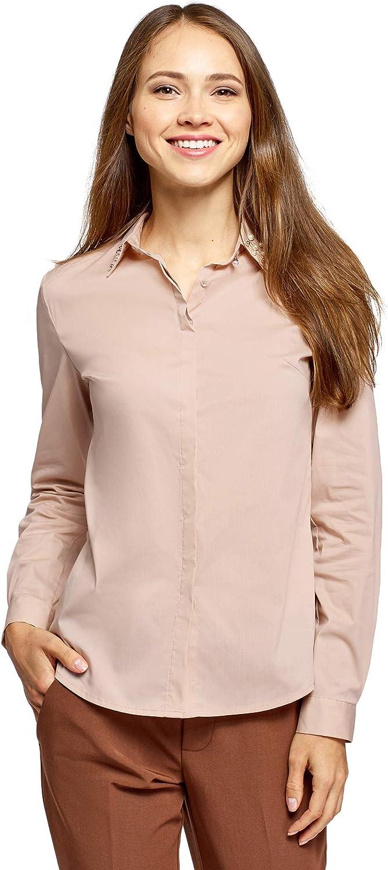 oodji Ultra Mujer Camisa Entallada con Perlas Artificiales en el Cuello