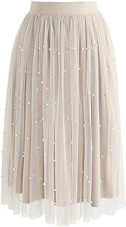 MASSAYA Women's Skirt (MS 619, Off White, Free Size)