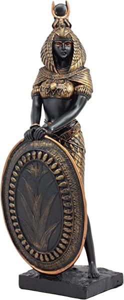 Ebros Egyptian Theme Isis Holding Shield Goddess Of Magic And Nature Bronzed Resin Statue Gods Of Egypt Historical Ancient Civilization Decor Sculpture Figurine
