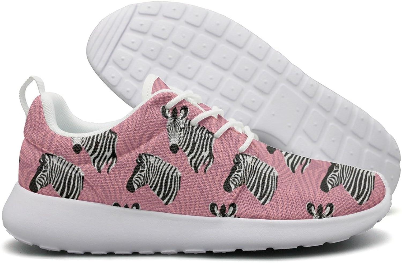 ERSER Zebra Head Pink Background Womens Running shoes Wide Width
