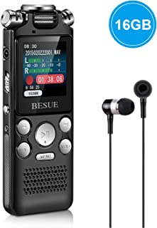 Digital Voice Recorder - 16GB Voice Activated Recorder with Playback USB Rechargeable, Noise Cancelling Audio Recorder for lectures, Double Microphone for HD Sound Recording Metal Casing Dictaphone