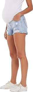 V VOCNI Maternity Women's Maternity Indigo Blue Mom Tassel Secret Underbelly Denim Shorts