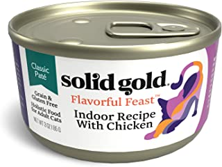 Solid Gold Indoor Cat Pate Wet Food; Flavorful Feast Grain Free With Real Chicken, 24Ct/3Oz Can