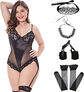 freefish's Sexy Women's Lingerie Set Plus Size - Includes Garter, Stockings Lace Eye Mask Blindfold, Handcuffs, Necklace Accessories