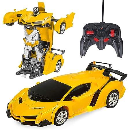 Toynspring ラジコンカー 車 おもちゃ ラジコン 車 リモコン RCカー 多機能ロボットおもちゃ ロボット変換 1/18 LED搭載 360度回転 こども向け 子供 おもちゃ 赤外線コントロール 誕生日 クリスマス 入学祝い 卒園祝い プレゼント 電池付けない (イエロー)