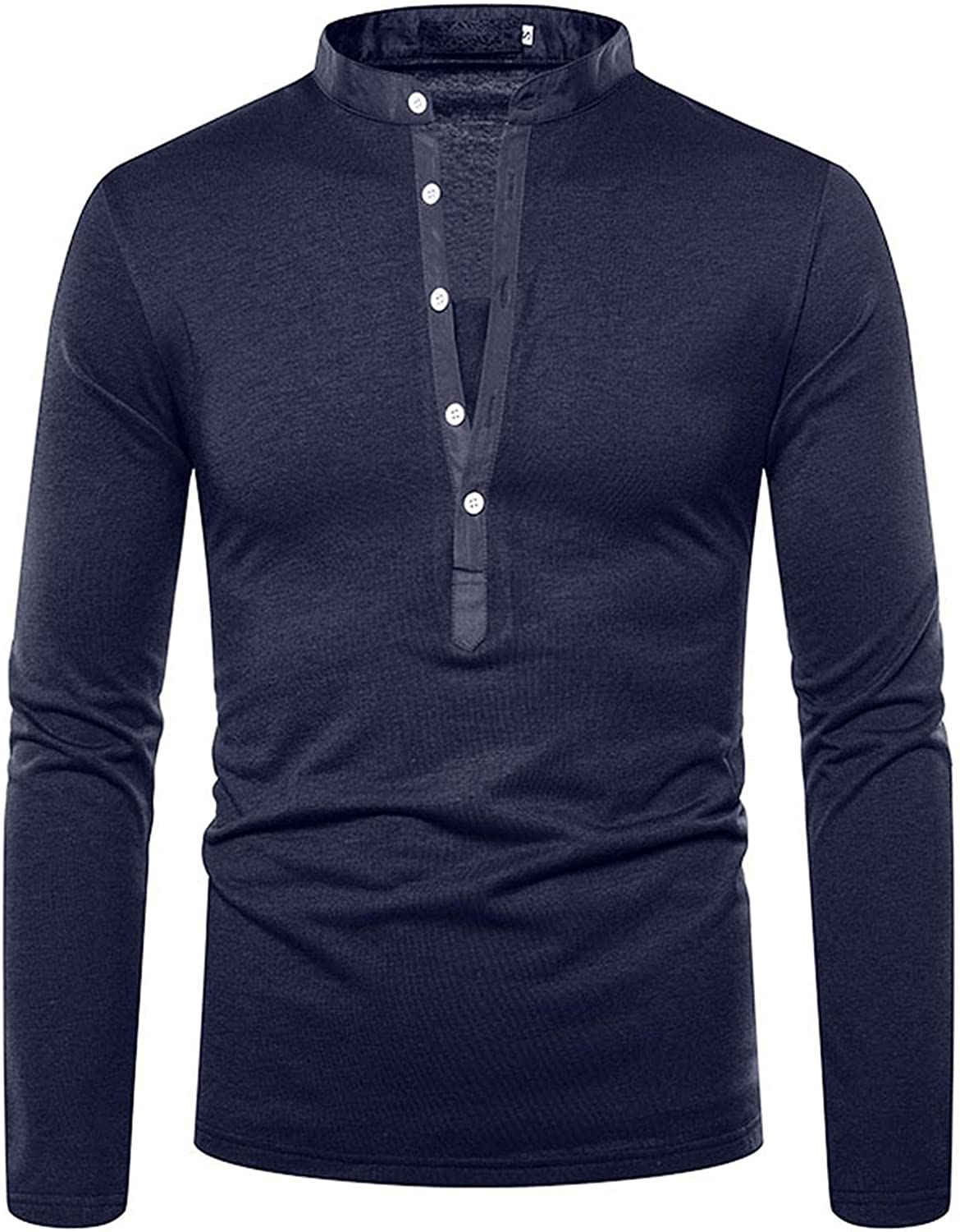 WUAI-Men Casual Slim Fit Henley Shirts Long Sleeve Stretch Banded Collar Button Up Cotton Tee Workout Muscle Tops