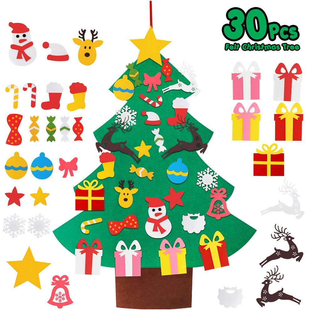Balhvit 3D DIY Felt Christmas Tree for Toddlers with 30pcs Detachable Ornaments Set, Christmas Decorations Xmas Gifts for Kids, New Year Door Wall Hanging Home Decor, Christmas Decor Party Supplies
