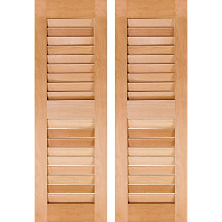 Amazon Com Ekena Millwork Rwl12x045unw Exterior Real Wood Cedar Louvered Shutters Per Pair 12 X 45 Unfinished Home Improvement