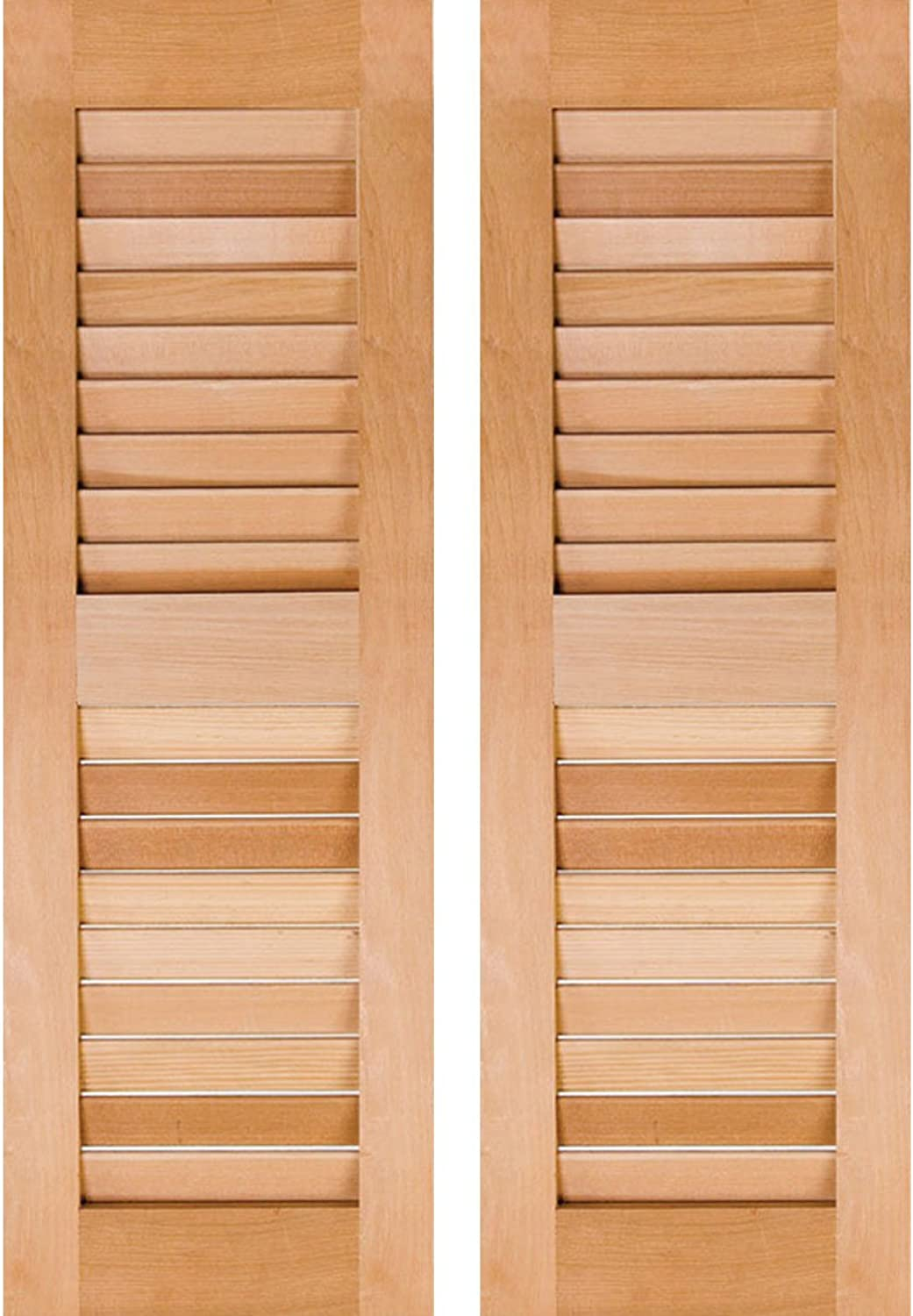 Ekena Millwork RWL12X025UNP Exterior Real Wood Pine Open Louvered Shutters (Per Pair), 12  x 25 , Unfinished