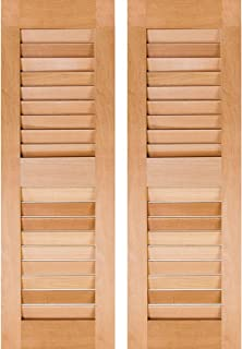 Ekena Millwork RWL12X026UNP Exterior Real Wood Pine Louvered Shutters (Per Pair), 12
