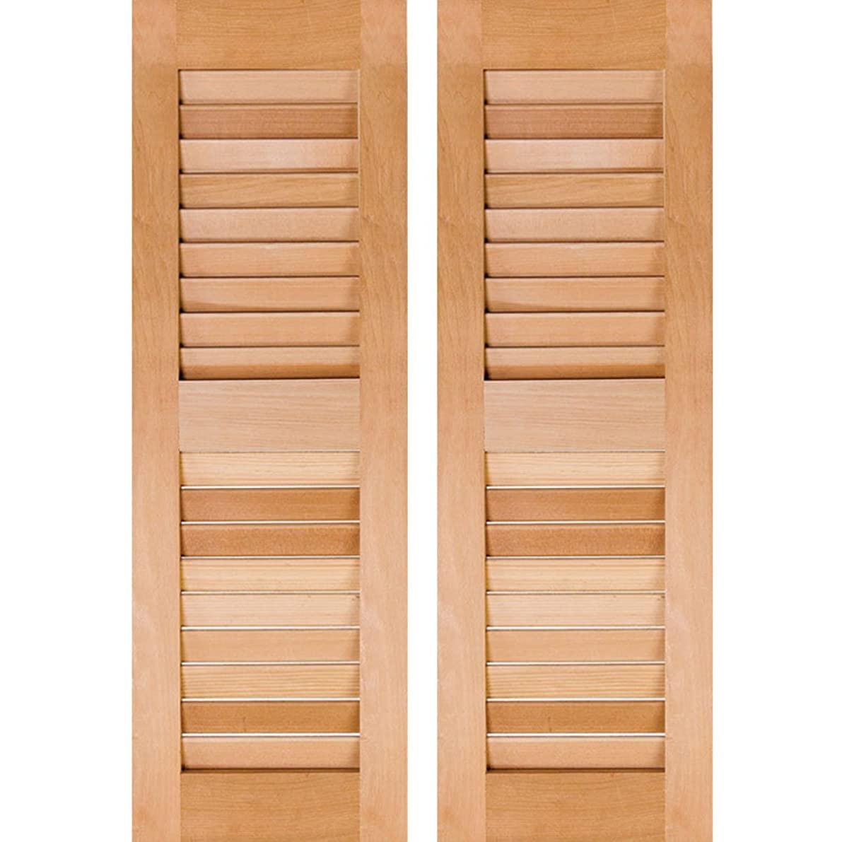 Ekena Millwork RWL15X029UNP Exterior Real Wood Pine Louvered Shutters (Per Pair), Unfinished, 15