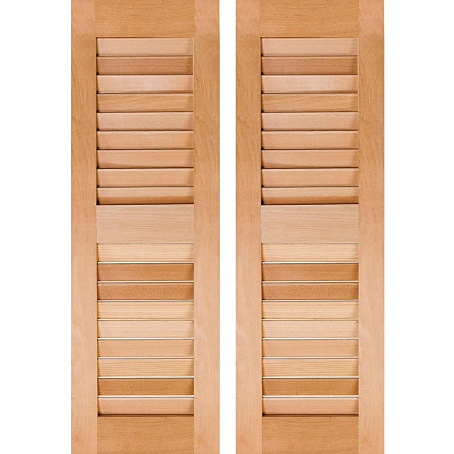 Ekena Millwork RWL12X025UNP Exterior Real Wood Pine Open Louvered Shutters (Per Pair), 12