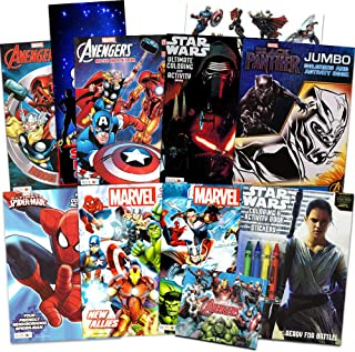 Disney Coloring Books for Kids Toddlers Bulk Set -- 8 Books and Sticker Pack (Action Heroes)