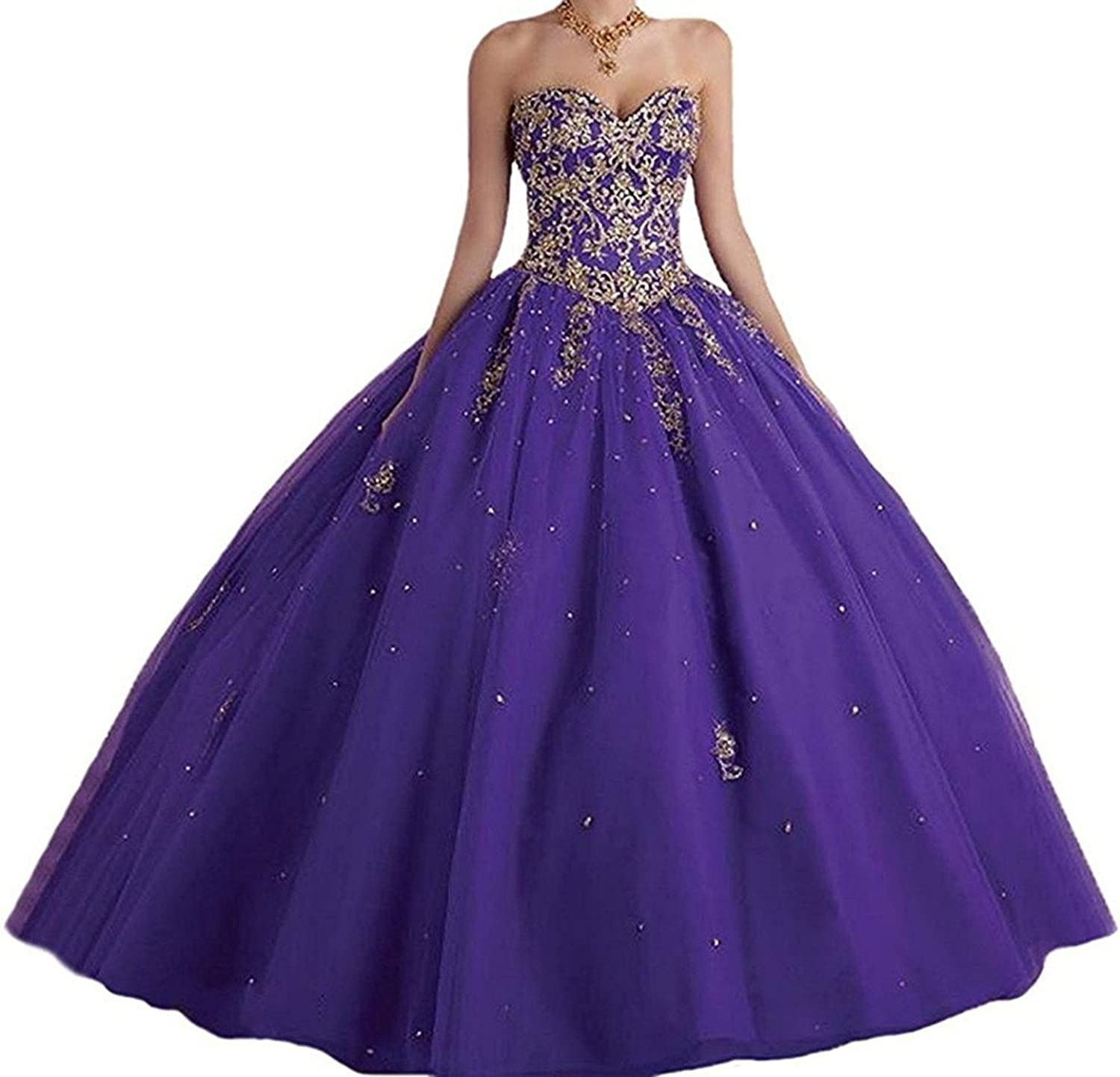 Loffy Lace with Tulle gold Red Sweet Prom Quinceanera Dress