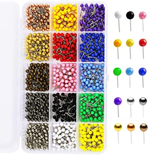 Multi-Color Push Pins Map Tacks,1/8 inch Round Head with Stainless Point, in reconfigurable Container for Bulletin Board, Fabric Marking, map pins (15 Assorted Colors)