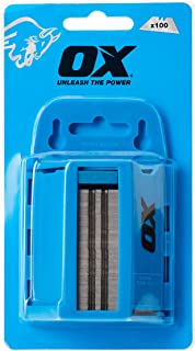 OX OX-P222110 PRO Series Knife Blades and Blades Dispenser - Pack of 100 Blades - PRO Series Black & Blue Variant