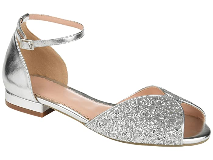Retro Vintage Flats and Low Heel Shoes Journee Collection Verona Flat Silver Womens Shoes $24.99 AT vintagedancer.com