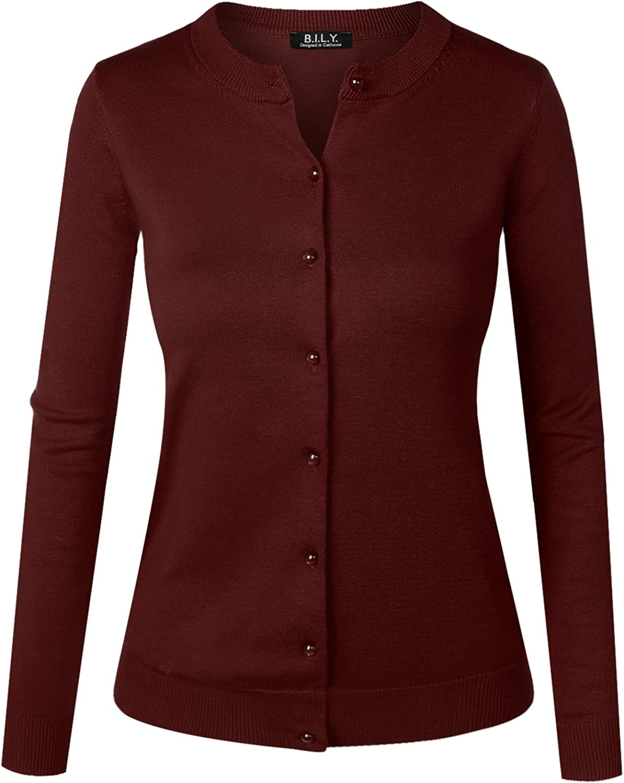 B.I.L.Y BILY Women's Unique Button Long Sleeve Soft Knit Cardigan Sweater Burgundy XXLarge