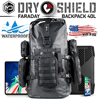 Mission Darkness Dry Shield Faraday Backpack 40L. Waterproof Tactical Backpack w/MOLLE Webbing & Packs/Signal Blocking/Anti-Tracking/EMP Shield/Data Privacy for Phones, Tablets, Laptops, etc.