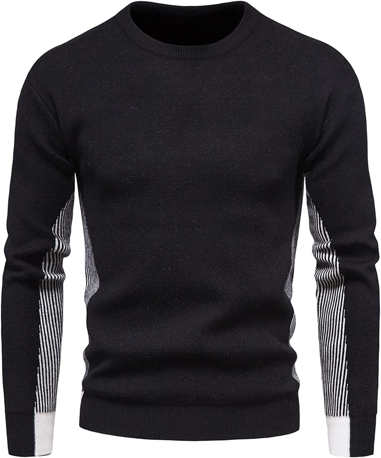 EverNight Men's Crewneck Sweatshirt,Casual Lightweight Striped Cotton Jumper,Ribbed Knitted Pullover