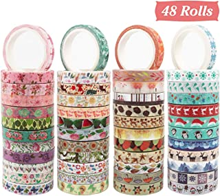 Cocoboo Seasonal Washi Tape Set, 48 Rolls 8mm Wide Masking Decorative Tape for Holiday Craft Tape, Craft Tape Washi and Craft Tape for Scrapbooking
