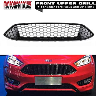 MotorFansClub Front Grill Bumper Grille for Ford Focus 2015 2016 ABS Gloss Black Honeycomb