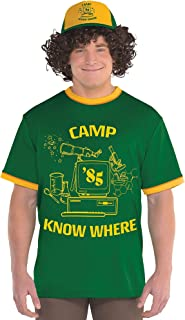 Stranger Things Dustin T-Shirt for Adults, with Ringer Styling and Camp Know Where Headline