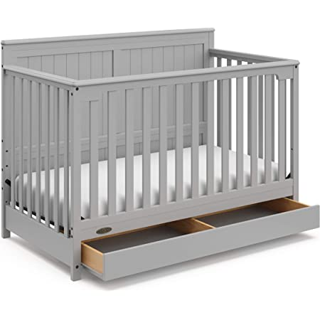 Graco Hadley 4-in-1 Convertible Crib with Drawer, Pebble Gray
