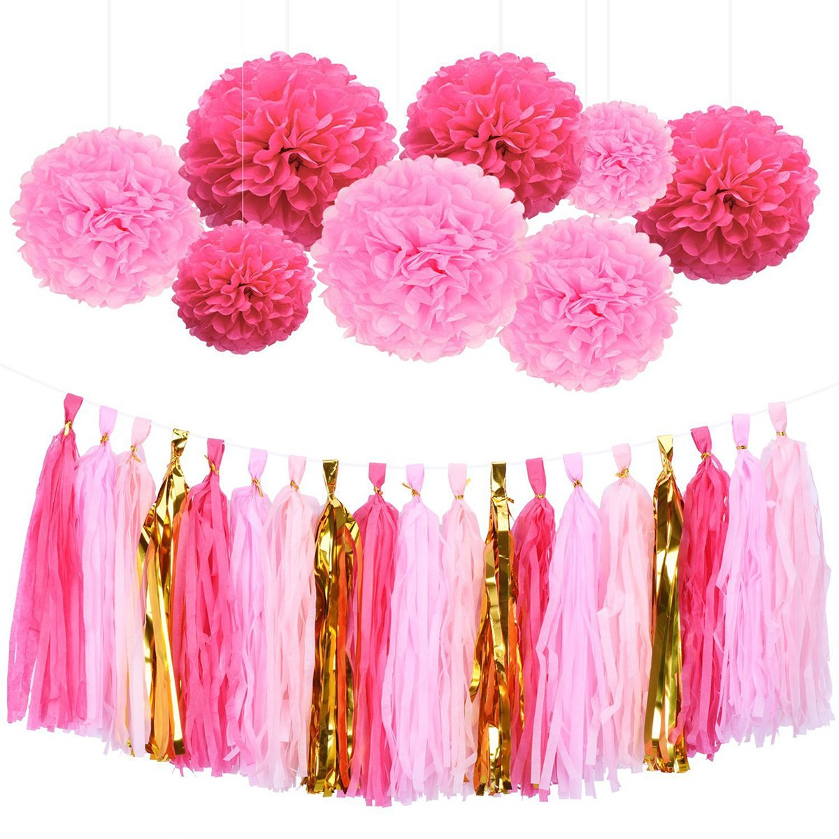 TOYMYTOY 28Pcs Tissue Paper Flowers Pom Pom Tassel DIY Paper Garland for Wedding Party Decoration (Rose Red and Pink)
