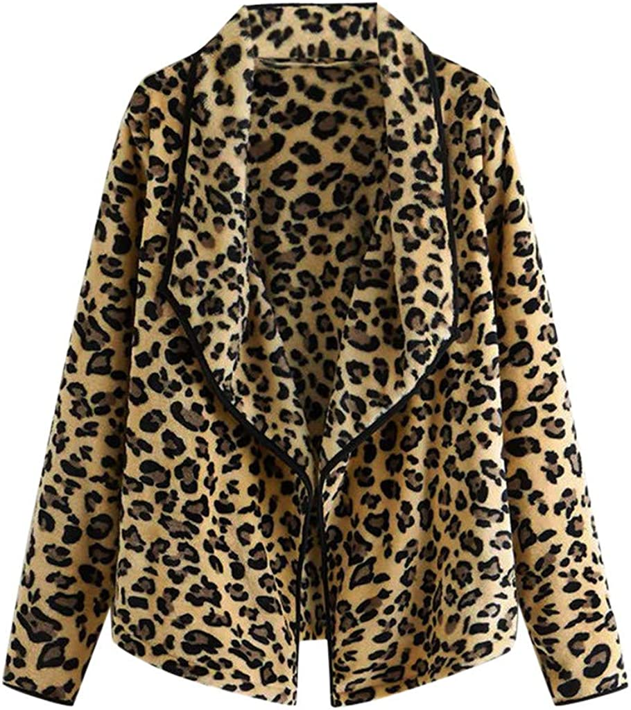 Leopard Fleece Jacket Cardigan Women, NRUTUP Loose Faux Fur Sher