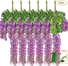 Violet Le Jardin VINFUTUR 5pcs 10m Artificiel Glycine Fleurs Vignes en Soie Guirlande de Lierre Plantes Fausse Guirlande de Feuilles Vertes pour la Maison