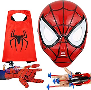 Kids Spiderman Capes and LED Masks - Spiderman Toys and Costume - Compatible Superhero Toys