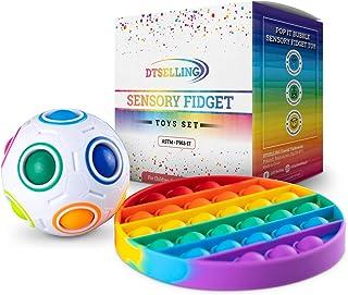 DTSelling Sensory Fidget Toys Set - Pop It Bubble & Magic Ball, Fidget Popper Toy Anxiety Stress Reliever, Pop It Fidget T...