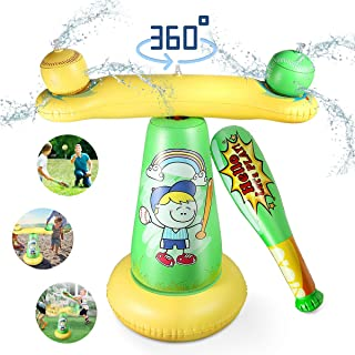 Spinning Baseball Sprinkler and Splash Water Play Pad, Inflatable Water Play Spray Mat..
