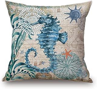 Happy Cool Cotton Linen Square Mediterranean Sea Decorative Throw Pillow Cushion Cover 18