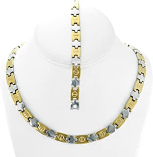 NEW Womens Two Tone (Gold & Silver) XOXO Love Necklace and Bracelet Set 18