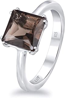 Purple Amethyst, Brown Smoky Quartz, Green Peridot 2.30 Ct Square 925 Sterling Silver Solitaire Ring Easter Presents For G...